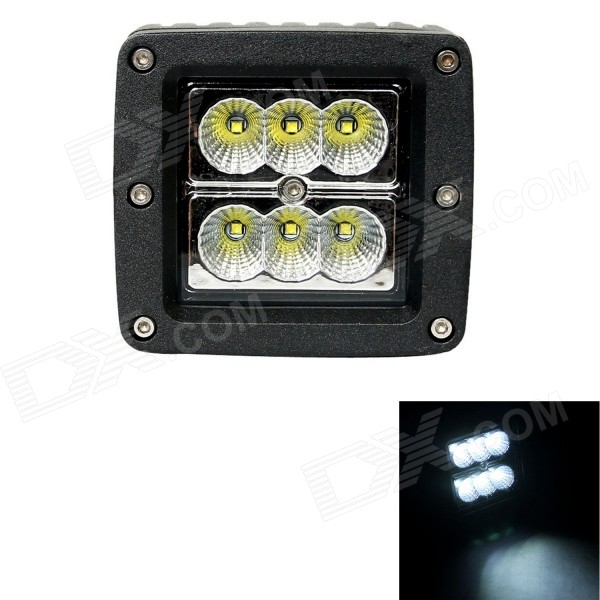 F018F 18W Type/F 1260lm 6000K Flood White 6-LED Square Work Light Bar for Car / Boat guleek 60w type h 4200lm 6000k 6 led white flood spot light worklight bar for car boat