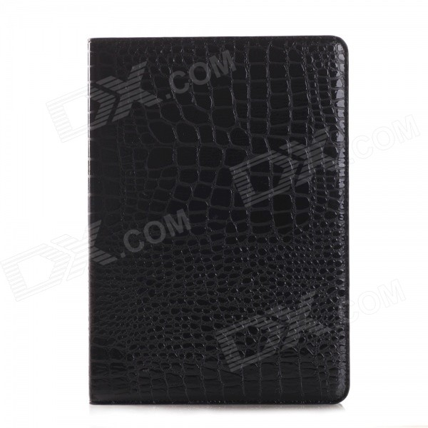 Crocodile Skin Pattern Protective PU Leather Wallet Case for IPAD AIR 2 - Black wb a005 alligator skin pattern protective pu leather case w stand for ipad air 2 brown