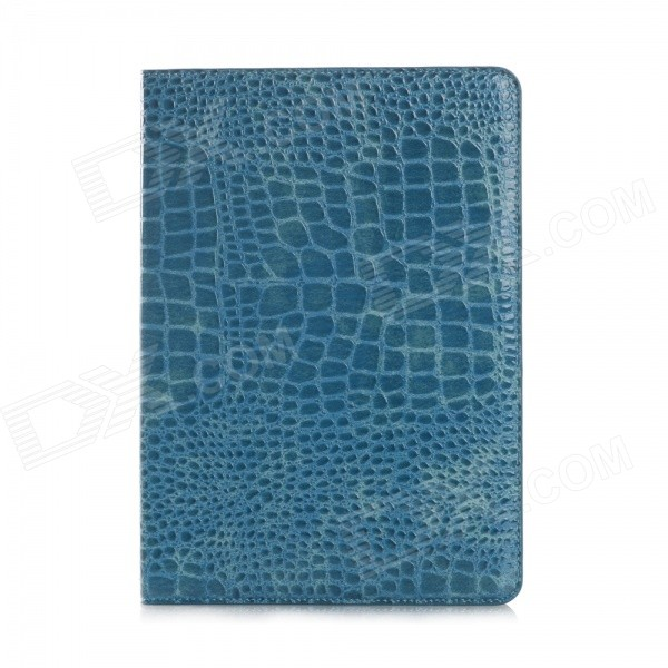 Crocodile Skin Pattern Protective PU Leather Wallet Case for IPAD AIR 2 - Blue wb a005 alligator skin pattern protective pu leather case w stand for ipad air 2 brown
