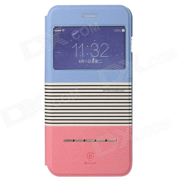 Baseus Protective PU + PC Case w/ Stand for IPHONE 6 Plus 5.5 - Blue + Pink