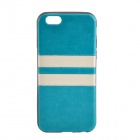 Horizontal Lines Pattern Protective TPU + PU Back Case for IPHONE 6 - Blue + White