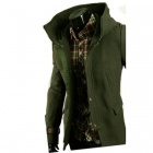 NT00654-3 Men's Leather Buckle Decorated Hooded Coat - Army Green (XXL)
