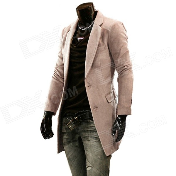 Hot Fashionable Man's Long Slim Trench Coat - Beige (Size XXL)