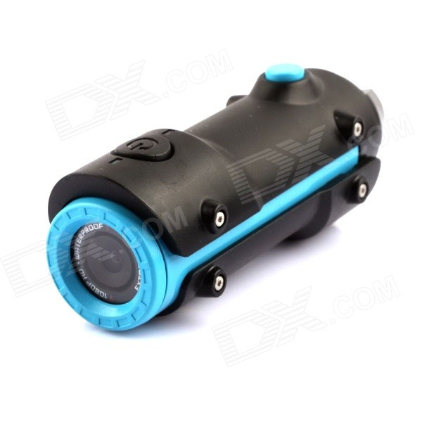 Waterproof Sports 12MP 1/2.5 CMOS 1080P HD Diving DV Camera - Black + Blue evoplus mirage waterproof 1080p 1 5 lcd 2 3 cmos 12mp wide angle anti shake sports camera black