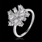 Women's Shining Flower Shaped Gold Plated Ring - Silver (Size 8)