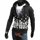 NT00061-3 Men's Contracted Printing Design Hooded Casual Sweater - Black (XXL)
