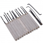 15-In-1 Stainless Steel Hook Lock Pick Set Locksmith Tool - Silver + Black