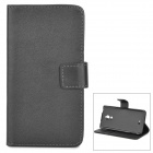 Buy Protective Flip-Open PU + PC Case Cover Stand / Card Slots Wiko Wax - Black