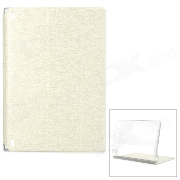 Protective PU Cover Stand Case w/ Translucent Back for Lenovo Yoga Tablet 2 830F - White protective silicone case for nds lite translucent white
