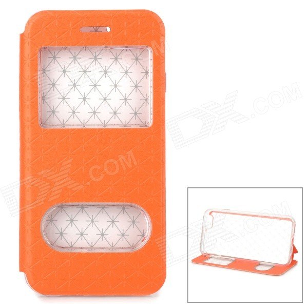Protective Dual-Window PU Case w/ Stand for IPHONE 6 4.7 - Orange roar korea noble leather stand view window case for iphone 7 4 7 inch orange