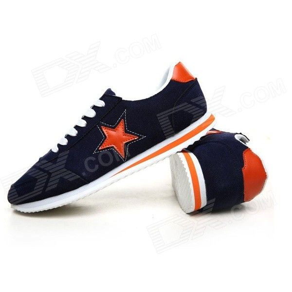 NT00017 Men's Five-Pointed Star Pattern Fashion Sports Leisure Sneakers - Dark Blue (39 / Pair) men s fashion embroidery canvas casual shoes dark blue golden yellow size 11 pair
