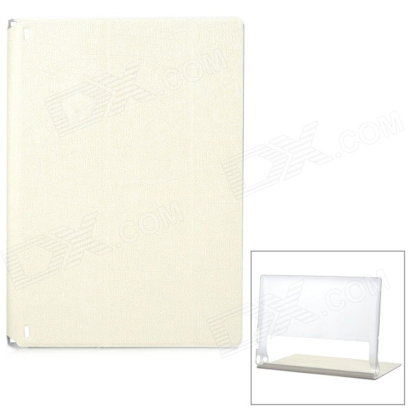 Protective PU Cover Stand Case w/ Translucent Back for Lenovo Yoga Tablet 2 1050F - White new original for lenovo ideapad yoga 3 14 lcd rear lid back cover screen top lid white ap0yc000500