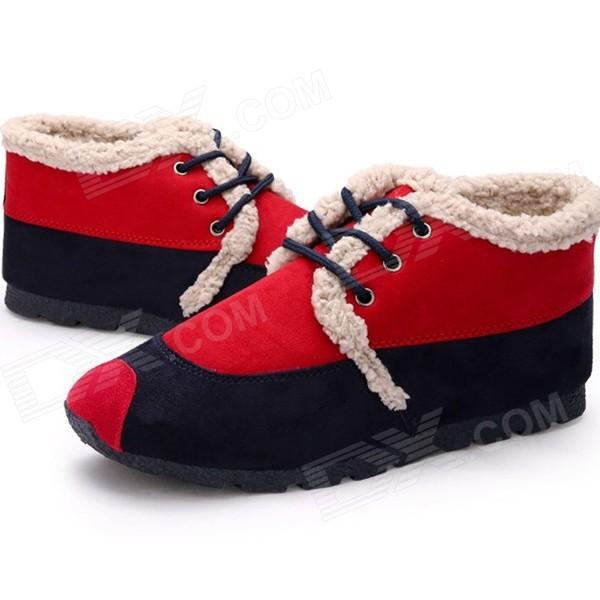 NT00543 Winter Wear Stylish Warm Contrast Color Cotton Leisure Shoes - Red (Size 39 / Pair) imc pair ladies swirl circles print waterproof over shoes rain boot size m