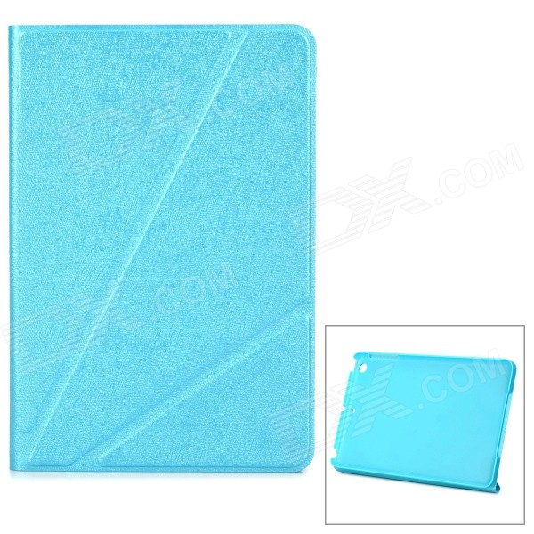 Protective PU Flip-Open Case w/ Stand for IPAD MINI 2 / 3 - Blue protective pu pc flip open case cover for ipad mini red