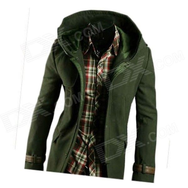 NT00654 Men's Leather Buckle Decorated Hooded Coat - Army Green (M)
