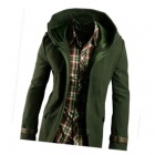 NT00654-1 Men's Leather Buckle Decorated Hooded Coat - Army Green (L)
