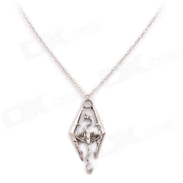 Hollow Out Dragon Style Pendant Necklace - Antique Silver
