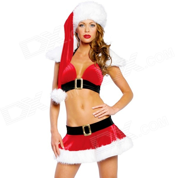 25# Sexy Christmas Party Miss Claus Style Cosplay Costume - Red + White soft warm plush cartoon santa claus hat cap for christmas red white