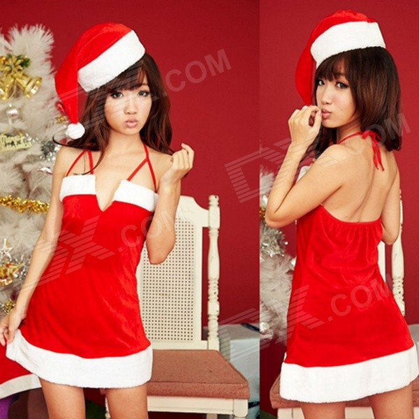 5# Christmas Sexy Backless Sleeveless Costume w/ Hat - Red + White(SKU 364220)