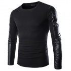 Men's PU Tight Long-Sleeved Shirt - Black (XL)