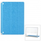 Protective PU Cover Stand Case w/ Translucent Back for Lenovo Yoga Tablet 2 830F - Blue