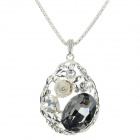 Women's Water Drop Shaped Zinc Alloy + Rhinestone Pendant Necklace - Silver