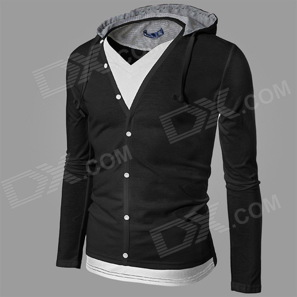 CSCS-HW-WY44 Two-Piece Style Men's Leisure Cotton Blended Hoodie Jacket - Black + White (XL)