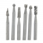 2.35mm Electric / Hanging Grinding Accessory High Speed Steel 6-in-1 Rotary File / Chisel Set