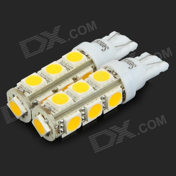 SENCART T10 5W 180lm 3500K Warm White 13-SMD 5054 LED Car Brake / Reversing Light (DC 12~16V / 2PCS) car led lights t10 194 w5w dc 12v canbus 6smd 5050 silicon shell led lights bulb no error led parking fog light auto car styling