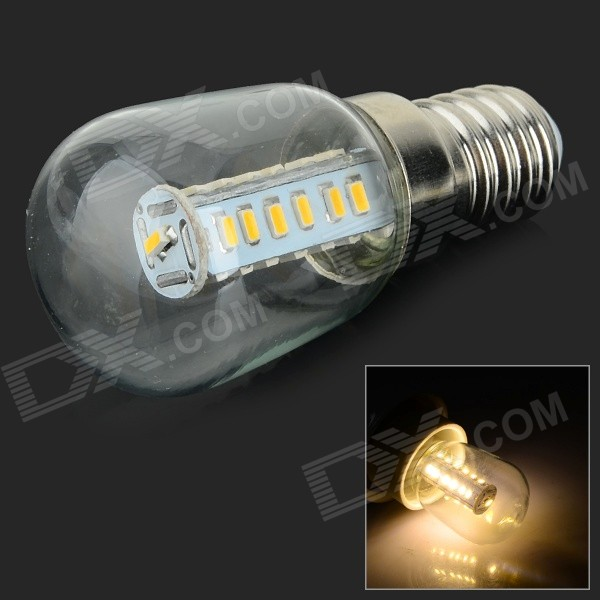 HH-083 E14 3W 25-SMD 3014 LED Warm White Fridge Light Bulb - Transparent + Silver (AC 110~220V)