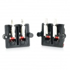 Dual Row Plastic Speaker Wiring Terminal Clamps / Clips - Black + Red (2 PCS)