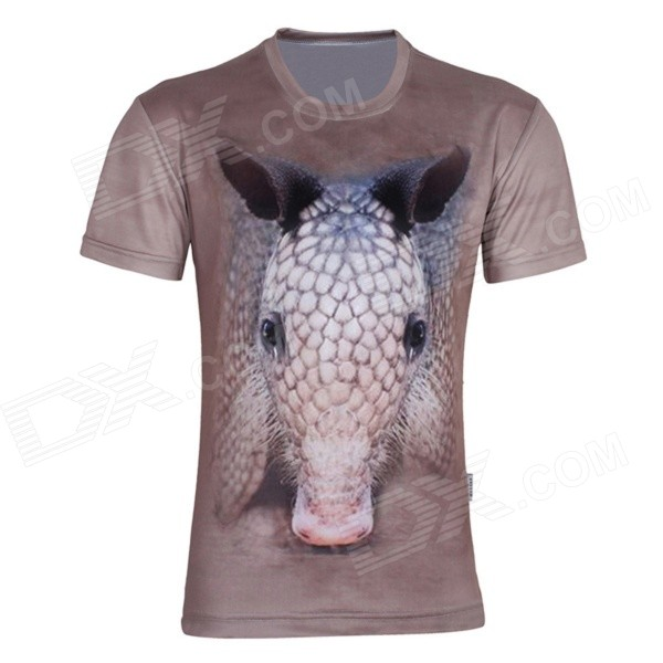 XINGLONG 3D Printing Animal Motifs Men's Short Sleeve T-shirt - Light brown + Multicolor (Size XL)