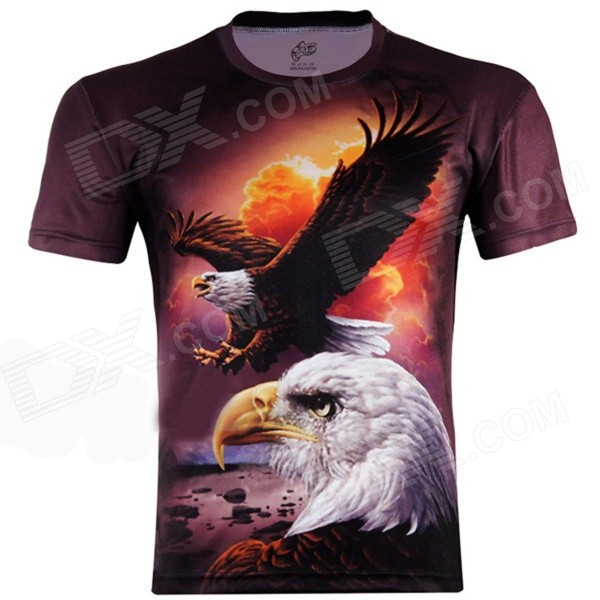 XINGLONG 3D Flying Eagle Motifs Short Sleeves T-shirt - Brownish Red + Multicolor (Size L)