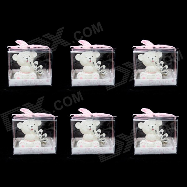 FEIS 6-in-1 Baby Bear Wearing Coat Style Candle w/ Keychain Set - White + Pink feis poly pb766a8bw2aa2 bb lies in bassinet blue 6 pcs
