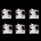 FEIS 6-in-1 Baby Bear Wearing Coat Style Candle w/ Keychain Set - White + Pink