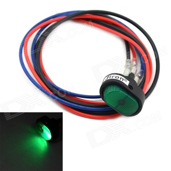 Jtron DIY Rocker Switch ON / OFF LED With Green Light - Black + Green (12V / 30A)
