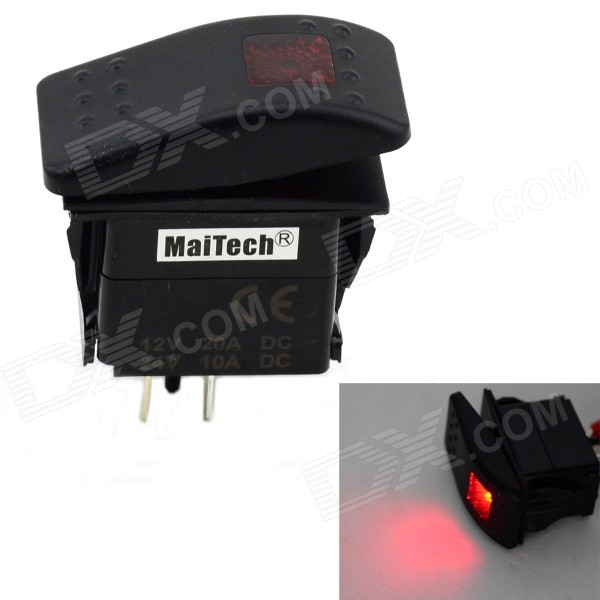 MaiTech 12V 20A / 24V 10A Car Switch with Red Light - Black + Red maitech diy car on off rocker switch black red 10 pcs 12v