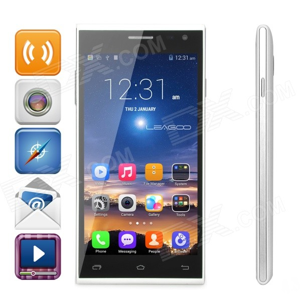 "LEAGOO Lead 5 MTK6582 Quad-Core-5.0 ""FWVGA Android 4.4.2 Smart Phone m / 1 GB RAM, 8 GB ROM - Hvit"