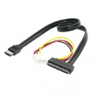 "CY SA-087-0.5M ESATA Combo to SATA 22-Pin & IDE 4-Pin Data Cable for 3.5"" 2.5"" Hard Disk - Black"