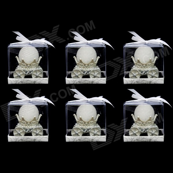 FEIS Pearl Ball w/ Carriage Holder Candles Set - White + Silver (6 PCS)