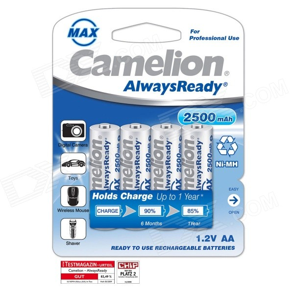 Camelion AlwaysReady 2500mAh Low Self-Discharge Ni-MH AA Rechargeable Batteries (4 PCS)