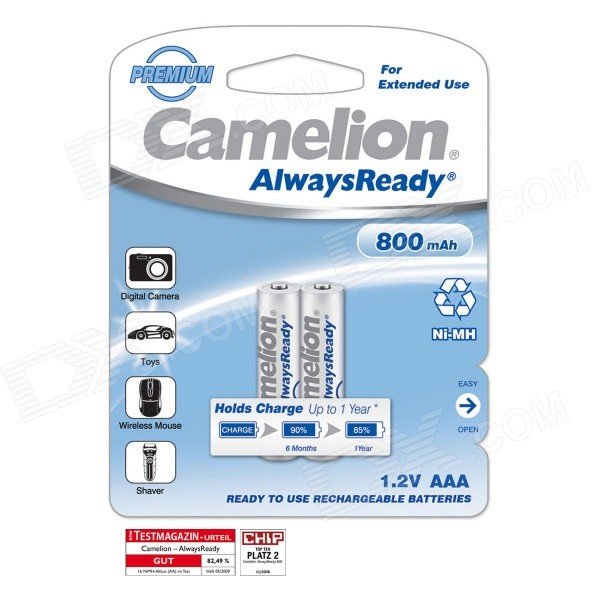 Camelion AlwaysReady 800mAh Low Self-Discharge Ni-MH AAA Rechargeable Batteries (2 PCS) 8pcs pkcell battery aaa pre charged nimh 1 2v 1200mah ni mh 3a rechargeable batteries up to 1000mah capacity cycle 1200times