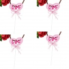 FEIS CL09B-6T Heart-shaped Love Style Decorative Cake Toppers Set - Pink (4 PCS)