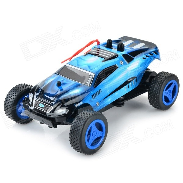 8802A 27MHz 1:24 Scale 3-CH High-speed Off-Road R/C Car - Blue + Black + Multi-Color nansheng 8807g 1 12 scale 3 ch 2 4ghz high speed r c cross country car silver black