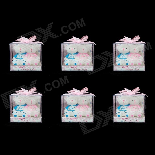 FEIS Loving BB Bear Candles Set - White + Pink (6 PCS) feng ling sb5512 ultrathin young model double eyelid tapes white yellow 240 pieces pack