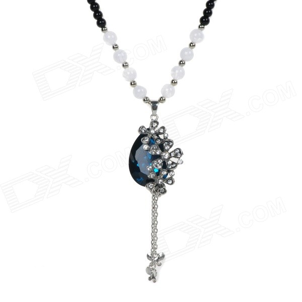 Fashionable Water Drop Shape Artificial Sapphire Pedant Necklace - Black + Blue + Multicolored