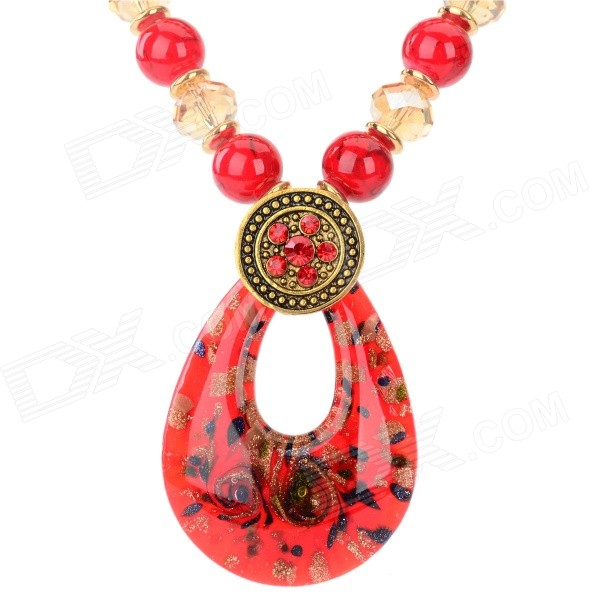 Women's Water Drop Style Azure Stone + Glass + Resin Pendant Necklace - Red + Golden
