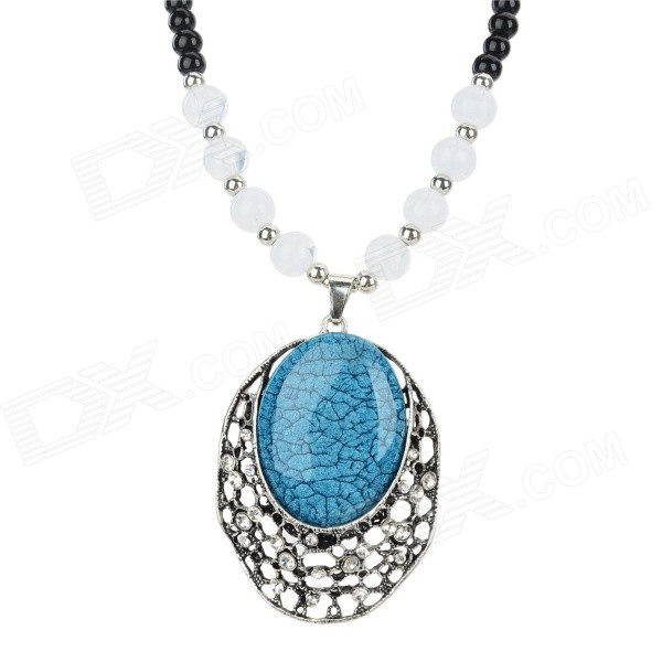 Women's Retro Style Azure Glaze + Glass + Zinc Alloy Pendant Necklace - Black + Blue