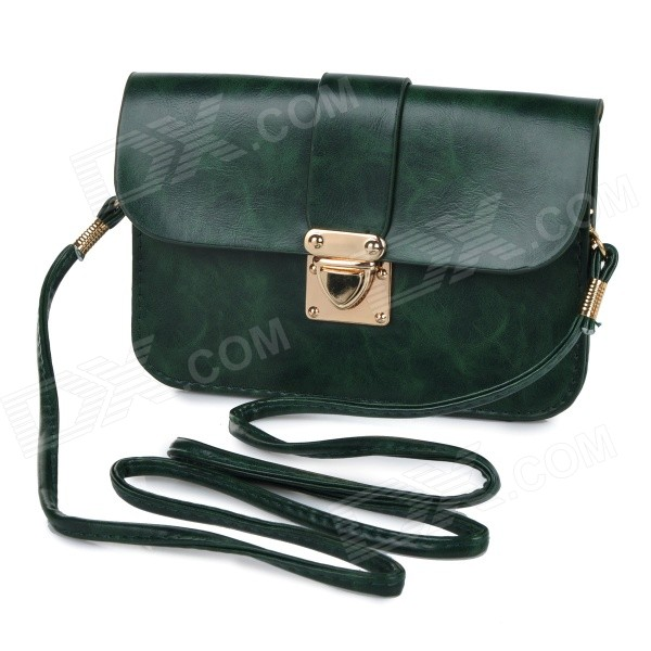 Women's Fashionable PU Long Strap Purse / Satchel / Messenger Shoulder Bag - Army Green