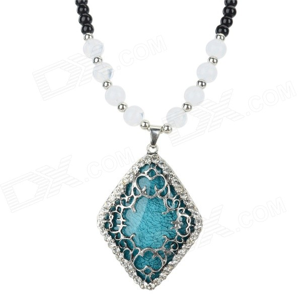 PS003 Women's Hollow Out Prismatic Style Pendant Necklace - Black + Blue
